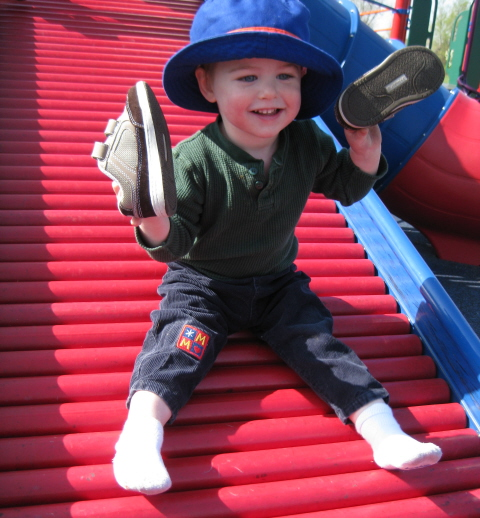 slide boy homeschoolbytes School at the Park   Ideas to Make Homeschooling Fun