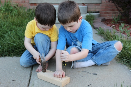 boys nails screws homeschoolbytes Pounding Fun on the Front Sidewalk