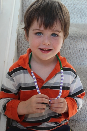finished necklace homeschoolbytes Patterns and Beads: Preschool Fun